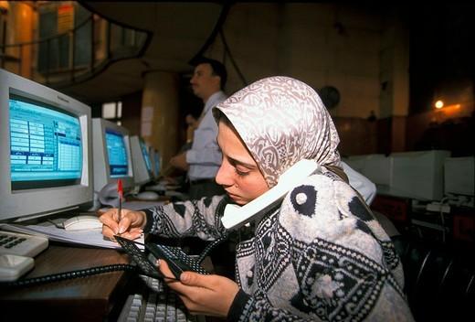 egypt, cairo, stock exchange, 1997 : Stock Photo
