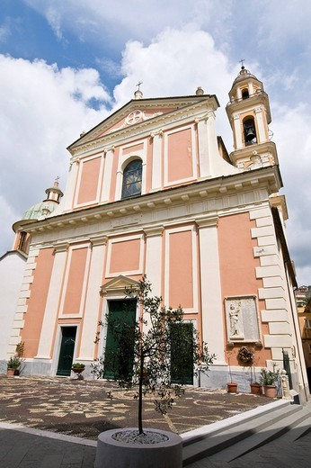 santa croce church, moneglia, liguria, italy : Stock Photo