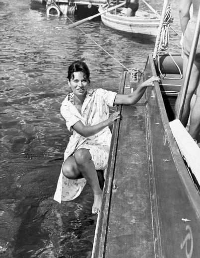 Stock Photo: 3153-575821 island of panarea, lea massari in the film l´avventura, 1960, shot by michelangelo antonioni