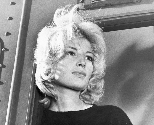 island of panarea, monica vitti in the film l´avventura, 1960, shot by michelangelo antonioni : Stock Photo