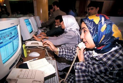 Stock Photo: 3153-576862 egypt, cairo, stock exchange, 1997