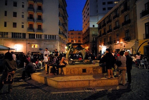 Stock Photo: 3153-577437 flavio gioia place, fountain, salerno, campania, italy