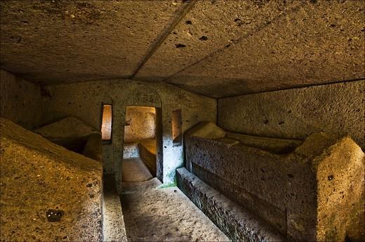 etrurian necropolis banditaccia, cerveteri, lazio, italy : Stock Photo
