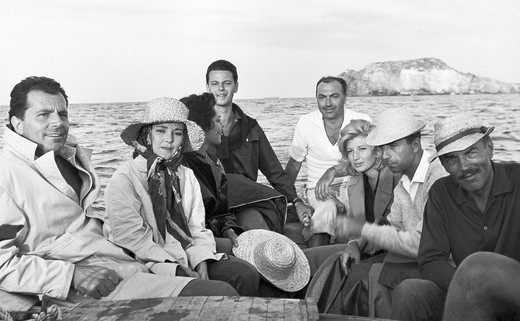 Stock Photo: 3153-577808 island of panarea, monica vitti, lea massari, gabriele ferzetti in the film l´avventura, 1960, shot by michelangelo antonioni