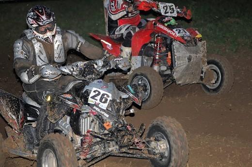 quad race by night : Stock Photo