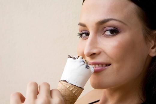 woman with ice cream : Stock Photo
