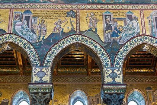 Stock Photo: 3153-580386 duomo mosaics, monreale, italy