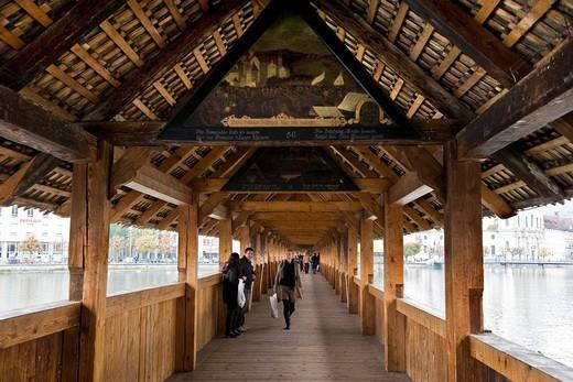Chapel Bridge over the Reuss River, Lucerne, Switzerland : Stock Photo
