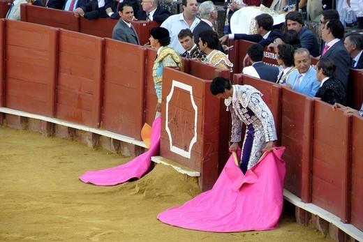 Stock Photo: 3153-582858 corrida, plaza de toros de la real maestranza, siviglia, spagna