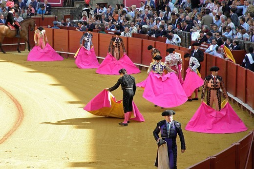 Stock Photo: 3153-583201 corrida, plaza de toros de la real maestranza, siviglia, spagna