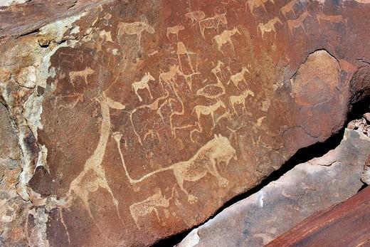 graffiti, twyfelfontein, namibia : Stock Photo