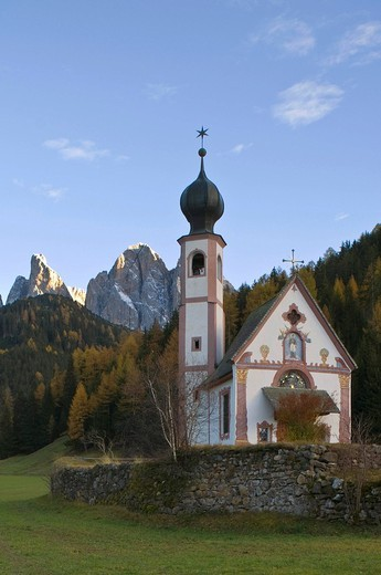 san giovanni church, funes valley, villnoss, italy : Stock Photo