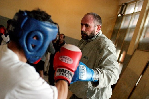 Stock Photo: 3153-589620 afghanistan, the heavyweight boxing european champion paolo vidoz during a training with the afghan national team in the olympic stadium of kabul