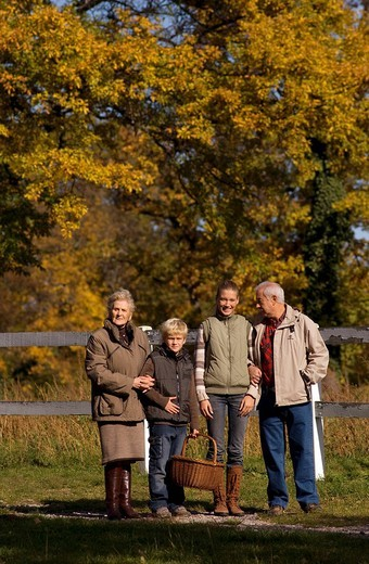 grandparents and grandchildren, countryside : Stock Photo