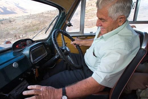 europe, cyprus, kelokedara village, bus driver : Stock Photo