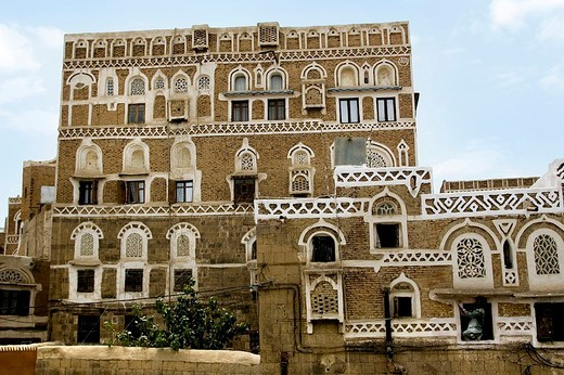 asia, arabian peninsula, yemen, sana´a, building in the old town : Stock Photo