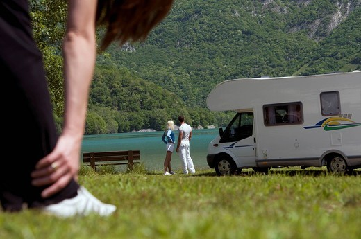 couple, camper : Stock Photo