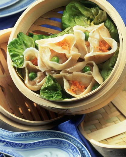interantional cuisine, steamed ravioli : Stock Photo