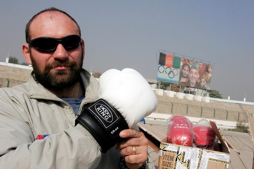 Stock Photo: 3153-599354 afghanistan, the heavyweight boxing european champion paolo vidoz during a training with the afghan national team in the olympic stadium of kabul
