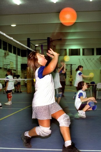 little girls, basket : Stock Photo