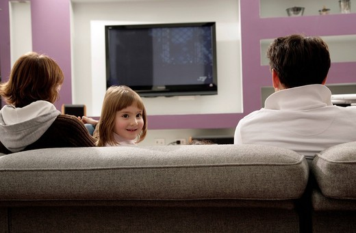 Stock Photo: 3153-599953 family watching television