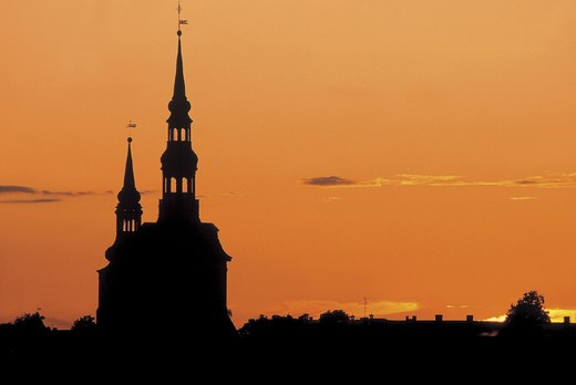 estonia, tallin, sunset on the old town centre : Stock Photo
