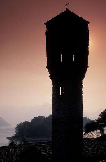 Stock Photo: 3153-600778 santa maria maddalena bell tower, ossuccio, italy