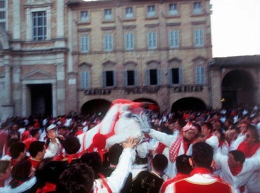 Stock Photo: 3153-601532 italy, marche, offida, carnival, lu bov fint