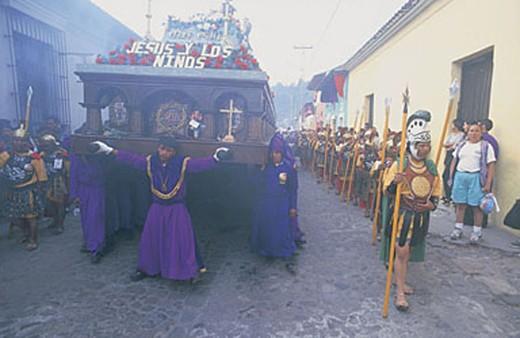 america, guatemala, antigua, san cristobal el bajo, semana santa : Stock Photo