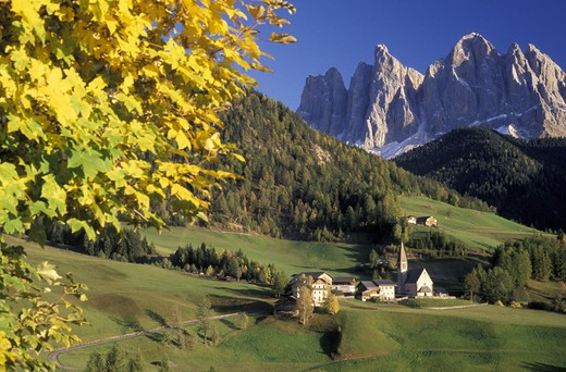 santa maddalena little village, funes valley, italy : Stock Photo