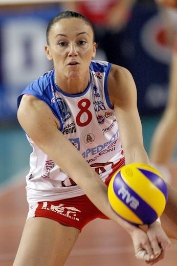 jenny barazza,treviglio 2009 , volley champions league 2008/2009 , foppapedretti bergamo_scavolini pesaro : Stock Photo