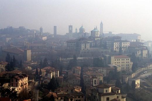 europe, italy, lombardia, bergamo alta : Stock Photo