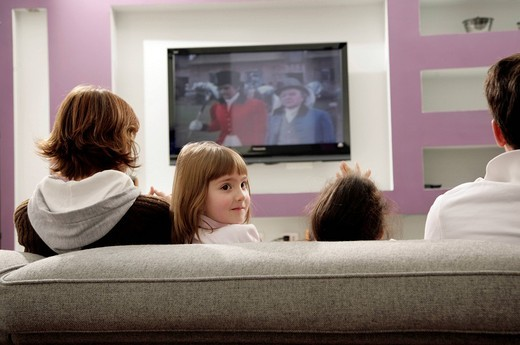 Stock Photo: 3153-605810 family watching television