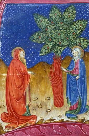 Stock Photo: 3153-608473 antiphonarium vith:god,moses at thornbush, bergamo, italy