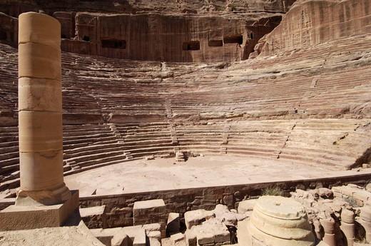asia, jordan,  petra, nabatean theatre : Stock Photo