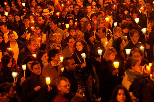 torchlight procession : Stock Photo