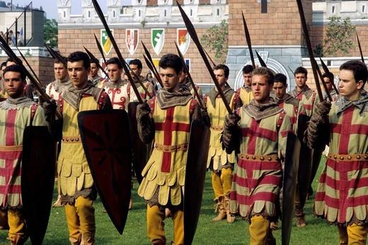 Stock Photo: 3153-611517 historical parade, sagra del carroccio, legnano, lombardia, italy