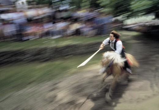 Stock Photo: 3153-616123 italy, trentino alto adige, alpe di siusi, oswald von wolkenstein riding on moving
