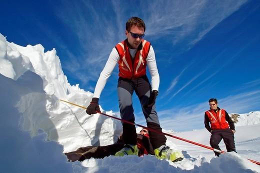 mountain rescue avalanche practise : Stock Photo