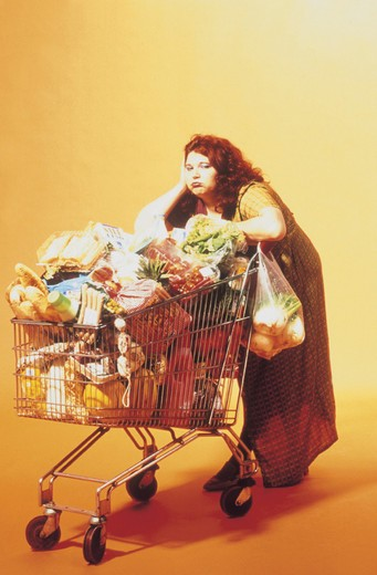 woman, doing the shopping : Stock Photo