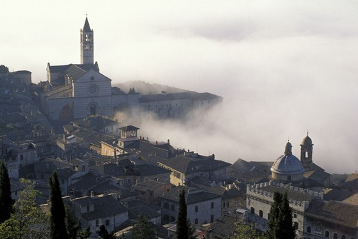 panorama/fog/st. clara church, assisi, italy : Stock Photo