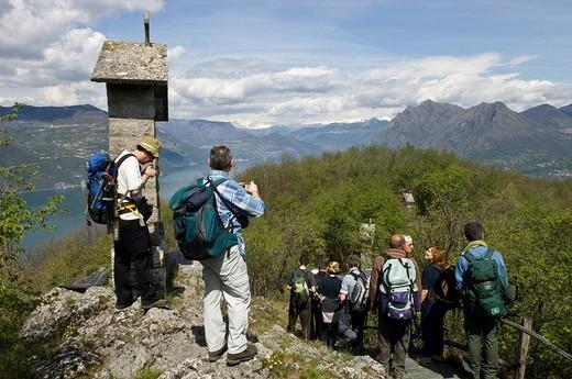 view from la ceriola sanctuary, montisola, italy : Stock Photo