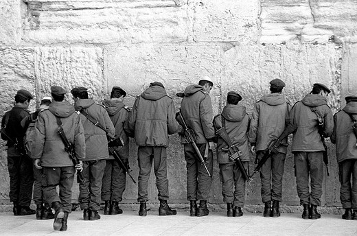 asia, middle east, israel, jerusalem, western wall, soldiers on prayer : Stock Photo