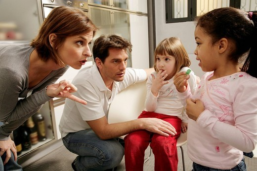 Stock Photo: 3153-619497 parents scolding daughters