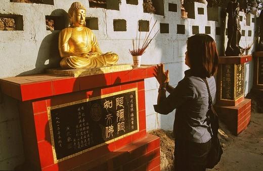 asia, china, hong kong, repulse bay temples during the new year age : Stock Photo