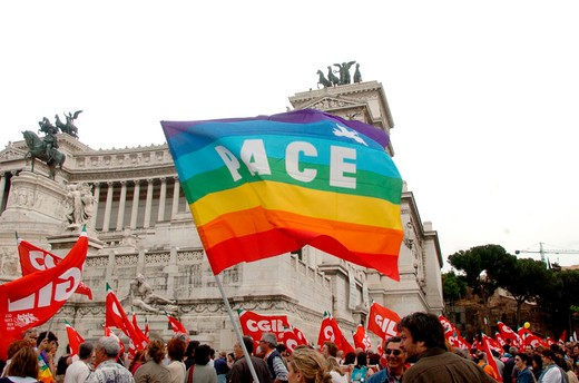 italy, manifestation for the peace : Stock Photo