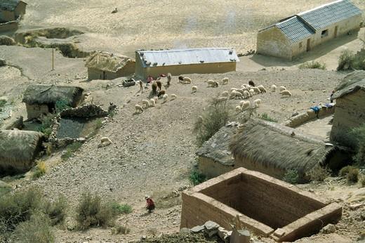 bolivia, village near oruro : Stock Photo