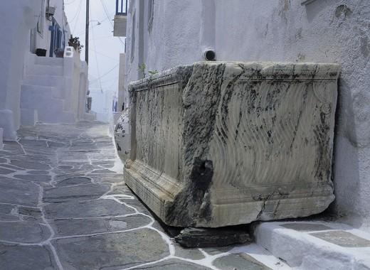 greece, sifnos, a roman sarcophagus : Stock Photo