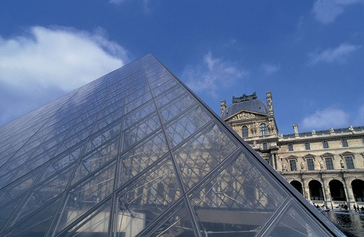 louvre and pyramid, paris, france : Stock Photo