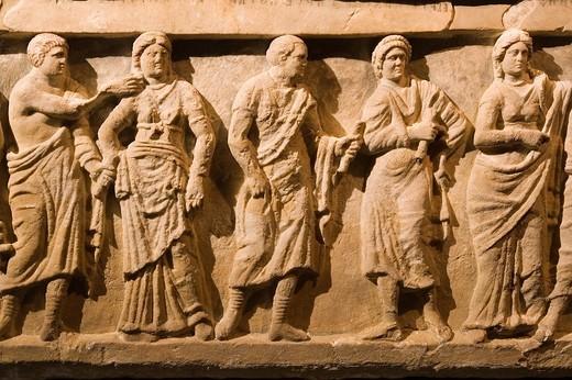 europe, italy, tuscany, siena, santa maria della scala, exhibition of etruscan art, collection of pietro bonci casuccini, alabaster sarcophagus, detail : Stock Photo